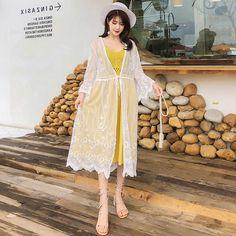 Lace Kimono, Kimono Top, Dress Outfits, Casual Outfits, Dresses, Lace Swimsuit, Sun Protective Clothing, Bikini Cover Up, Different Fabrics