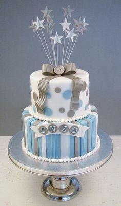 A little boy's cake. Little Boy Cakes, Baby Boy Cakes, Cakes For Boys, Girl Cakes, Fondant Figures, Fondant Cakes, Cupcake Cakes, Birthday Cake Girls, First Birthday Cakes