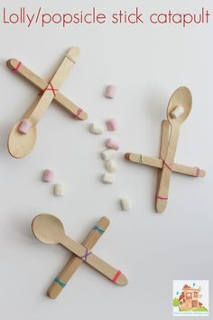 Popsicle/Lolly stick catapult. A super simple science and engineering project for kids. Catapults are simple for children to make themselves and are a great STEM activity or craft.