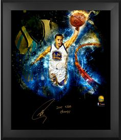 "Stephen Curry Golden State Warriors Framed Autographed 20"" x 24"" 2015 NBA Finals In-Focus Photograph with 2015 NBA Champs Inscription"