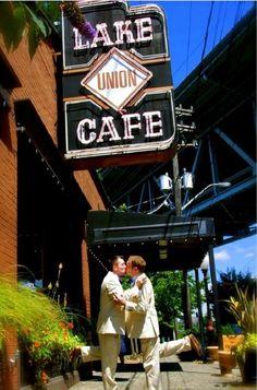 "Sweet moment between grooms (love the leg ""pop""!).  #gay #wedding"