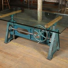 Industrial Tables - The Art of Industrial - Get Back, Inc. Industrial Design Furniture, Pipe Furniture, Steel Furniture, Table Furniture, Cool Furniture, Furniture Design, Industrial Drafting Tables, Industrial Table, Vintage Industrial