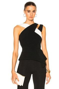 Image 1 of Roland Mouret Thornhill Stretch Viscose Top in Black & White