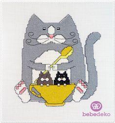 Kanaviçe Kedi Tablo (Cross-stitch Cat Table) Bebedeko'da bebeğinizin odasına yakışacak kanaviçe kedi tablo.