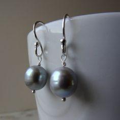 Grey Pearl Earrings Baroque Drop Bridesmaid Nickel Free Large