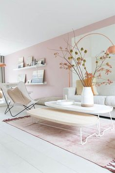 Best Interior Design Color Combos: Copper & Pink - Home Decor My Living Room, Home And Living, Living Room Decor, Small Living, Copper Living Room, Living Area, Interior Pastel, Deco Rose, Best Interior Design