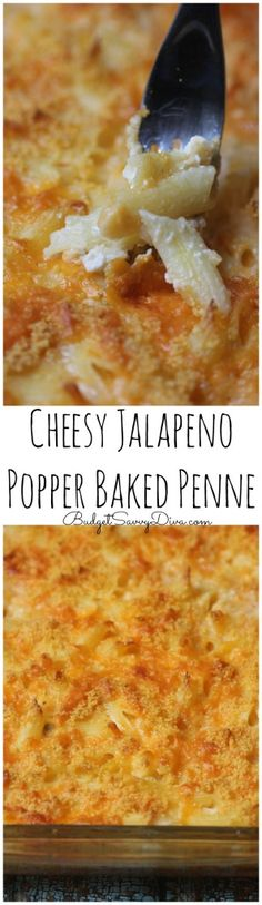 BEST Mac and Cheese EVER! Simple to make and a yummy twist on 2 beloved classics - mac and cheese and jalapeno peppers! Awesome if you add bacon too! Penne Recipes, Cheesy Recipes, Cooking Recipes, Budget Cooking, Noodle Recipes, Recipes Dinner, Healthy Recipes, Jalapeno Poppers Baked, Baked Penne