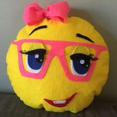 This emoji pillow girly nerd is the perfect gift for a tween Cushions, Pillows, Handmade Toys, Tween, Emoji, Nerd, Girly, Superhero, Ideas