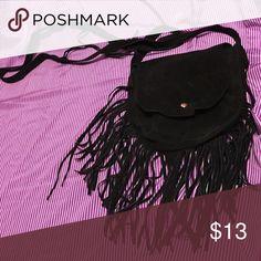 Black suede fringe crossbody bag Cute fringe suede like cross-body purse. Used once. Bags Crossbody Bags