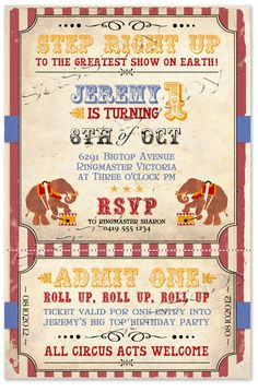 Vintage Circus Invitation | Sassaby