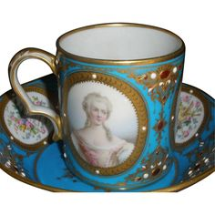 Jeweled Sevres portrait cup and saucer 18th / 19th c