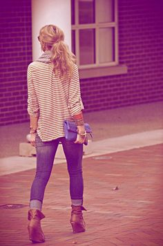 Boots, stripes, scarf. Cute/casual