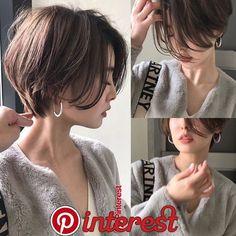 Pin on 髪型 Short Hair With Layers, Short Hair Cuts, Medium Hair Styles, Curly Hair Styles, Tomboy Hairstyles, Asian Short Hairstyles, Brown Hairstyles, Korean Short Hair, Shot Hair Styles