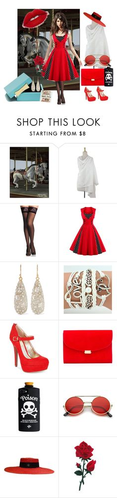 """""""Ruby Red"""" by bluehatter ❤ liked on Polyvore featuring NOVICA, Kate Spade, Alexis Bittar, Material Girl, Mansur Gavriel and Gucci"""