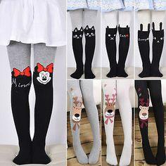Kids Baby Boys Girls Cartoon Big Eyes Knee High Socks Tights Leg Warm Stockings