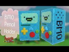 How to make a BMO (Adventure Time) Perler Bead Pencil Holder - YouTube