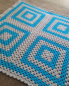 Crochet Baby Blanket Blue and Grey
