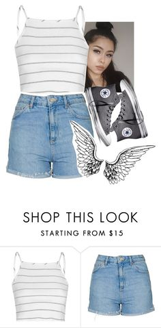 """stripes #3"" by xxsaraxtaraxx ❤ liked on Polyvore featuring Glamorous, Topshop and Converse"