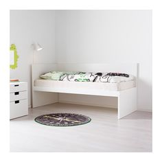 FLAXA Bed frm w/headboard+slatted bedbase  - IKEA - second bed can fit underneath (FLAXA Pull-out bed) - for play area