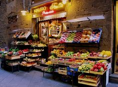 One of many small shops selling fresh, local produce on the streets of Florence, Italy