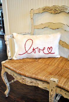 burlap & embroidery pillow