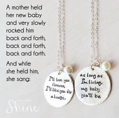 I'll Love You Forever I'll Like You For by DesignedToShineAcc, $64.00 Abbie would LOVE this. If I can't buy the necklaces maybe I can draw it for her.