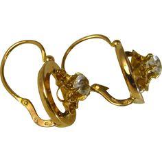 Antique French Dormeuse 18 k Gold Diamond Paste Flower Earrings ~ 1890