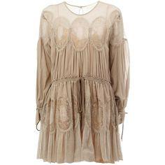 Chloé crochet panel dress (1.920.485 CLP) via Polyvore featuring dresses, grey, long sleeve silk dress, long sleeve dress, long sleeve short dress, short pleated dress y silk dress