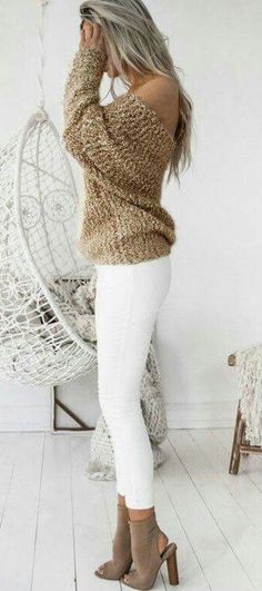 #winter #outfits brown off-shoulder long-sleeve top and white pants