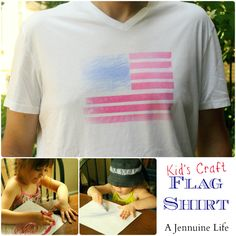"Kids' Craft Drawing - have your kiddo draw on plain white paper with fabric crayons... then iron it on to a Teeshirt for them (or you, or grandma!) to wear!  - this tutorial says to have them color in large spaces, and cut apart for it to become a flag, but I just like the ""color and iron on"" aspect :-P - great way to share artwork and gift it without just sending paper :)"