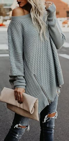 an amazing shade of this oversized sweater has my heart nude purse + zipped details