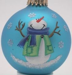 Hand Painted Custom Snowflake Snowman Christmas Ornaments and Christmas Decorations - this ornament makes me HAPPY! Snowman Christmas Ornaments, Christmas Snowman, Handmade Christmas, Christmas Bulbs, Christmas Decorations, Ball Ornaments, Christmas Projects, Holiday Crafts, Christmas Ideas