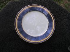 Mikasa Imperial Lapis Gold Encrusted Band Blue Marble Rim White Salad Plate