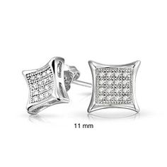 Mens Sterling Silver Kite Micro Pave CZ Stud Earrings 11mm