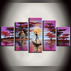 Hand Painted Oil Painting African Forest Pink Lake Boat Landscape Paintings with Stretched Frame Set of 5 - USD $ 89.99