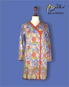 Angrakha with Digital Print Full sleeves (Bell Shape) Fabric: Lawn Full Sleeves, Lawn, Digital Prints, High Neck Dress, Shape, Fabric, Summer, Collection, Color