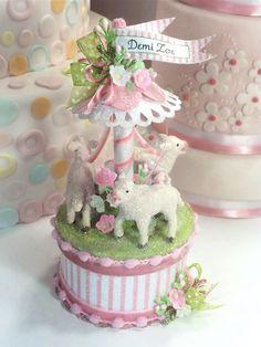Baby Lamb Cake Topper, Keepsake Box, Baby Shower Topper, Birthday Cake Topper