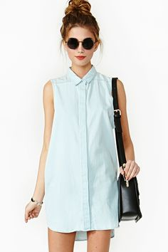 Bride silhouette idea, Rant #001 Just Ranting the Blues Nasty gal Colleen Chambray Shirt in Blue (chambray) | Lyst