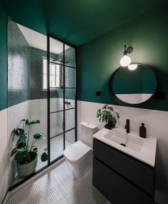 Bathroom Interior Design, Home Interior, Dark Green Bathrooms, Appartement Design, Dome House, Bathroom Inspiration, Small Bathroom, Bathroom Basin, Home Decor