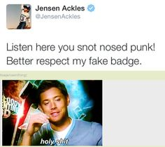Jensen is in a tweet class all his own! ;) [GIF] (10x08 live tweet)