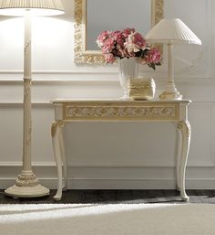 Luxurious Italian Ivory and Gold Rococo Console Tableat Juliettes Interiors, a large collection of Classical Furniture.