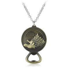 TV Series Game Of Thrones House Stark Wolf Botter Opener Pendant Vintage Necklace For Men