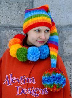 Knit Rainbow colorful stripy multicolor winter head warmer Long Stocking Elf woodland fairy pixie hat Pompon unisex Adult Hat photo prop