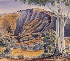 Mt Hermannsburg, James Range c. Aboriginal History, Aboriginal Artists, Australian Painting, Australian Artists, Landscape Art, Landscape Paintings, Art Eras, Red Centre, Watercolour Paintings