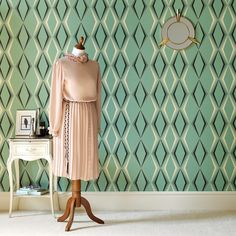 Deco Diamond Groen Behang van Graham and Brown