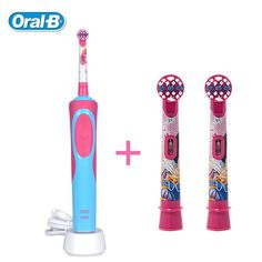 Oral B D12513K Children Electric Toothbrush Safety Rechargeable Waterproof Princess Braun Teeth brush + 2 heads for Kids Ages 3+