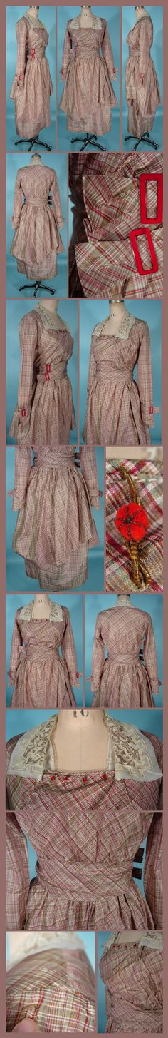 c. 19-Teens MAID MARION DRESSES Plaid Taffeta Afternoon Dress. Antiquedress.com