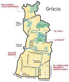 Gràcia was another town that became a district of Barcelona at the end of the 19th century and it still retains a very distinct charm. The Gràcia neighbourhoods are Vila de Gràcia, El Camp d'en Grassot i Gràcia Nova, La Salut, El Coll and Vallcarca i els Penitents.
