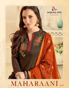 Angroop Plus Maharani Vol 2 Embroidered Banarasi Cotton Dress Material Dealer Surat Latest Salwar Kameez, Pakistani Salwar Kameez, Womens Clothing Stores, Clothes For Women, Krishna, Beautiful Suit, Embroidery Suits, Indian Ethnic Wear, Punjabi Suits