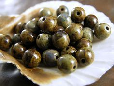 50 Czech Round Aged Glass Beads~Full Coat Picasso Opaque Olive Travertine-6mm #Preciosa #Czech